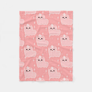 Carnation Pink Fluffy Unicorn Sparkles Fleece Blanket