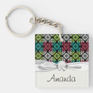 carnation pink lime aqua sweet damask squares Double-Sided square acrylic key ring