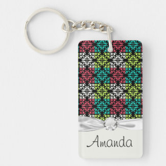 carnation pink lime aqua sweet damask squares Single-Sided rectangular acrylic key ring