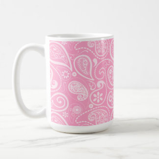 Carnation Pink Paisley; Floral Basic White Mug