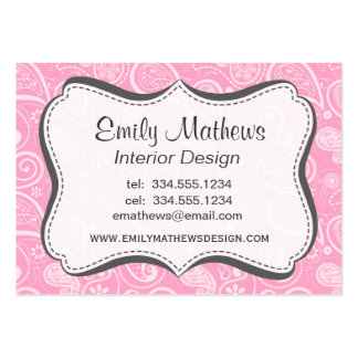 Carnation Pink Paisley; Floral Large Business Cards (Pack Of 100)