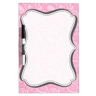Carnation Pink Paisley; Floral Dry Erase Board
