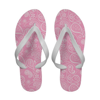 Carnation Pink Paisley; Floral Sandals