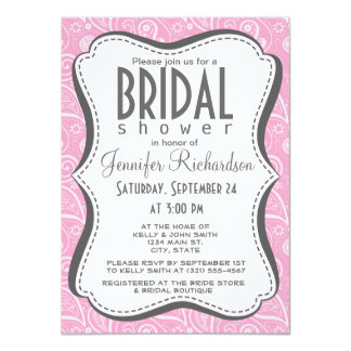 "Carnation Pink Paisley; Floral 4.5"" X 6.25"" Invitation Card"