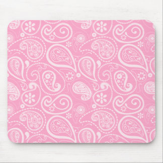 Carnation Pink Paisley Floral Mousepads