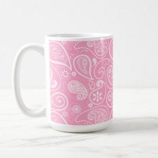 Carnation Pink Paisley; Floral Classic White Coffee Mug