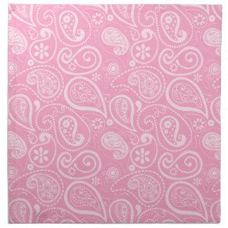 Carnation Pink Paisley; Floral Printed Napkins