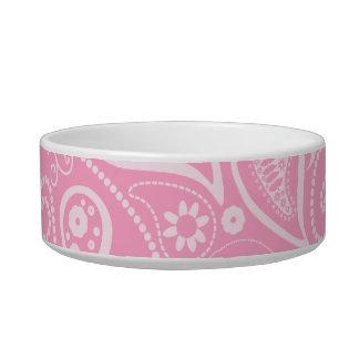Carnation Pink Paisley; Floral Pet Water Bowl
