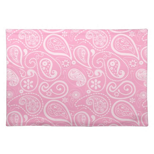 Carnation Pink Paisley; Floral Place Mats