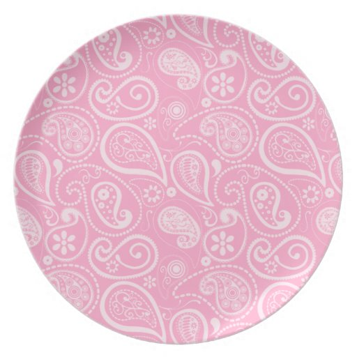 Carnation Pink Paisley; Floral Plates