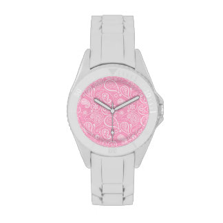 Carnation Pink Paisley; Floral Wristwatches