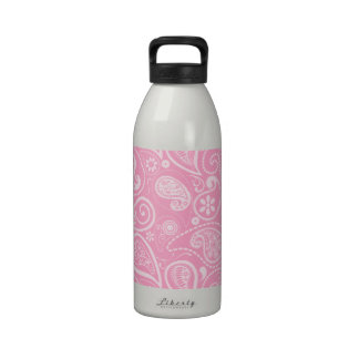 Carnation Pink Paisley; Floral Water Bottle