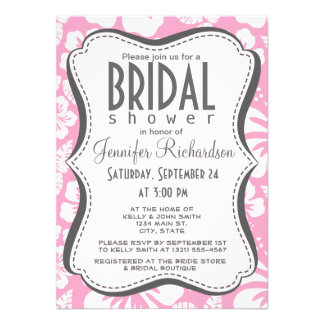 Carnation Pink Tropical Hibiscus Custom Invitations