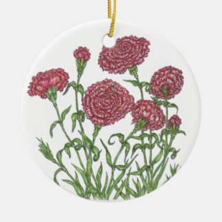 Carnation Round Ceramic Decoration
