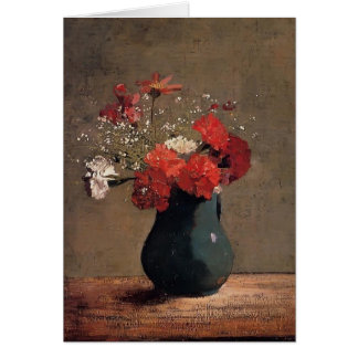 Carnations and baby's breath by Odilon Redon Card
