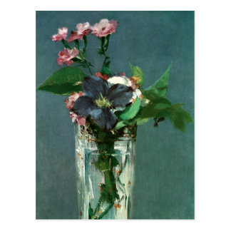 Carnations and Clematis by Edouard Manet Postcard