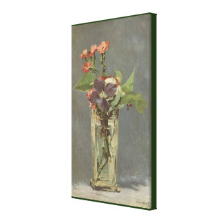 Carnations and Clematis in a Crystal Vase by Manet Canvas Print