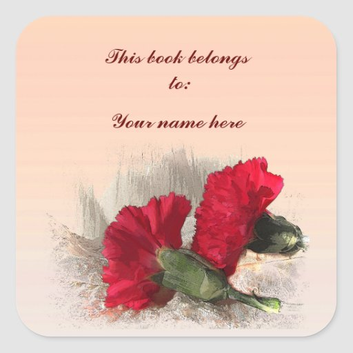 Carnations Bookplate Stickers
