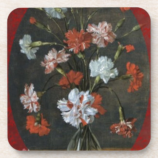 Carnations In A Glass Vase Coaster