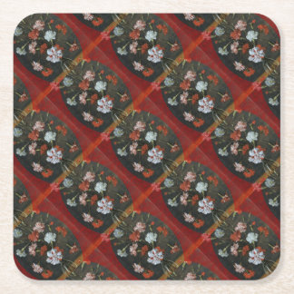 Carnations In A Glass Vase Square Paper Coaster