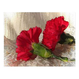 Carnations on brocade postcard
