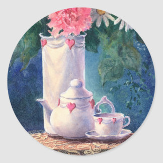 CARNATIONS & TEAPOT by SHARON SHARPE Round Sticker