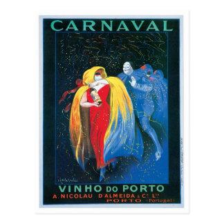 Carnaval Vinho Do Porto Vintage Wine Ad Art Postcard