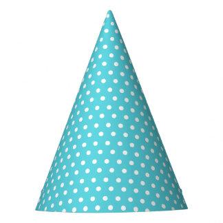 Carnival Aqua Back Tiny White Dots Party Hat