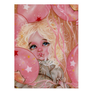 Carnival Balloons Pink Little Girl Postcard
