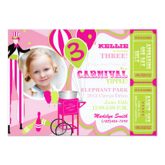 Carnival Birthday Invitation Stilt Walker