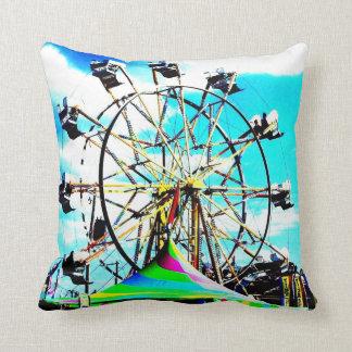 Carnival Carousel Horse Ferris Wheel Pop Art Photo Cushion