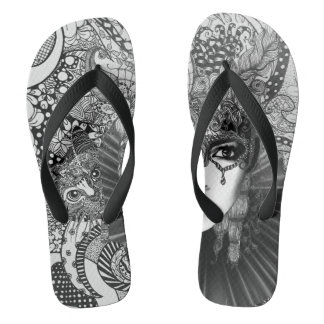 Carnival cat in black and white flop flops thongs