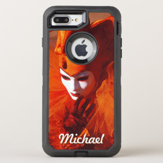 Carnival Character in Orange Harlequin Costume OtterBox Defender iPhone 7 Plus Case