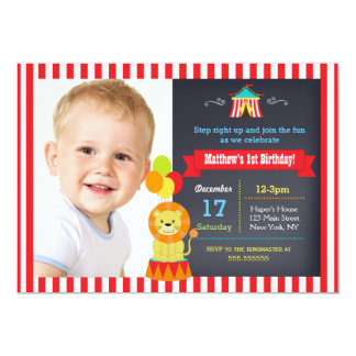 Carnival Circus Lion Bigtop Birthday Invitations