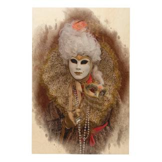 Carnival Costume Portrait, Venice Wood Wall Art