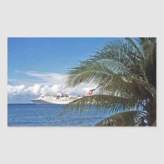 Carnival cruise ship docked at Grand Cayman Island Rectangular Sticker