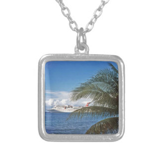 Carnival cruise ship docked at Grand Cayman Silver Plated Necklace