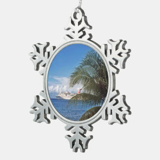 Carnival cruise ship docked at Grand Cayman Snowflake Pewter Christmas Ornament