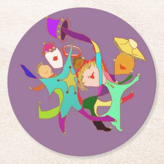 Carnival Dancers on Purple Round Paper Coaster