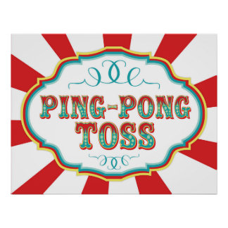 Carnival Game Sign Ping Pong Toss Poster