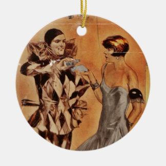Carnival Harlequin and Flapper (cologne) Double-Sided Ceramic Round Christmas Ornament