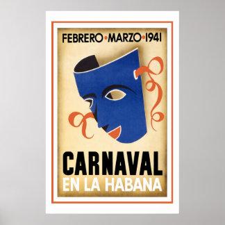 Carnival in Havana Vintage Travel Poster