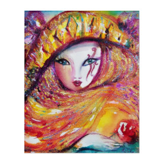 CARNIVAL MASK IN YELLOW WITH RED ROSE ACRYLIC PRINT