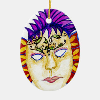 Carnival Mask Watercolor 2 Ceramic Oval Decoration