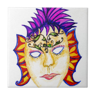 Carnival Mask Watercolor 2 Ceramic Tile
