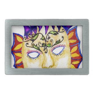 Carnival Mask Watercolor 2 Rectangular Belt Buckles