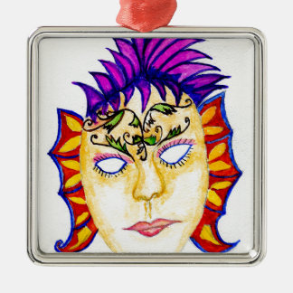 Carnival Mask Watercolor 2 Silver-Colored Square Decoration