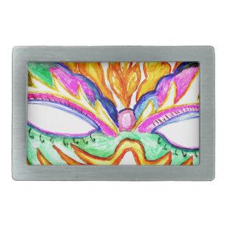 Carnival Mask Watercolor Belt Buckle