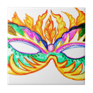 Carnival Mask Watercolor Ceramic Tile