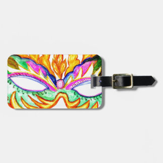 Carnival Mask Watercolor Luggage Tag
